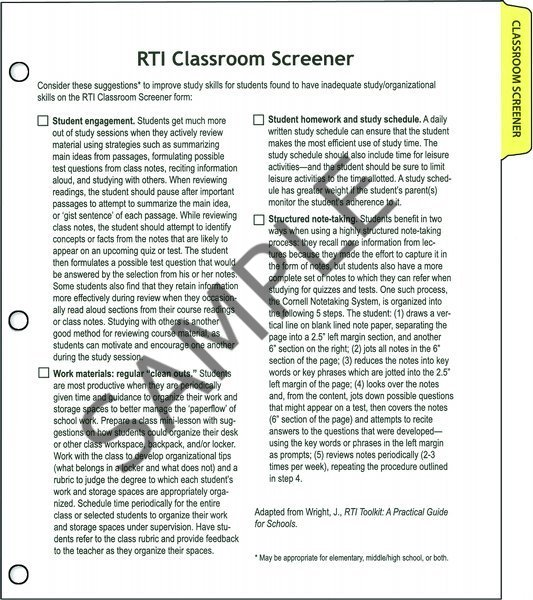 Rti data collection forms & organizer: classroom starter kit.